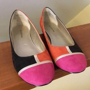 Liz Claiborne tri-color suede shoes - size 7 1/2